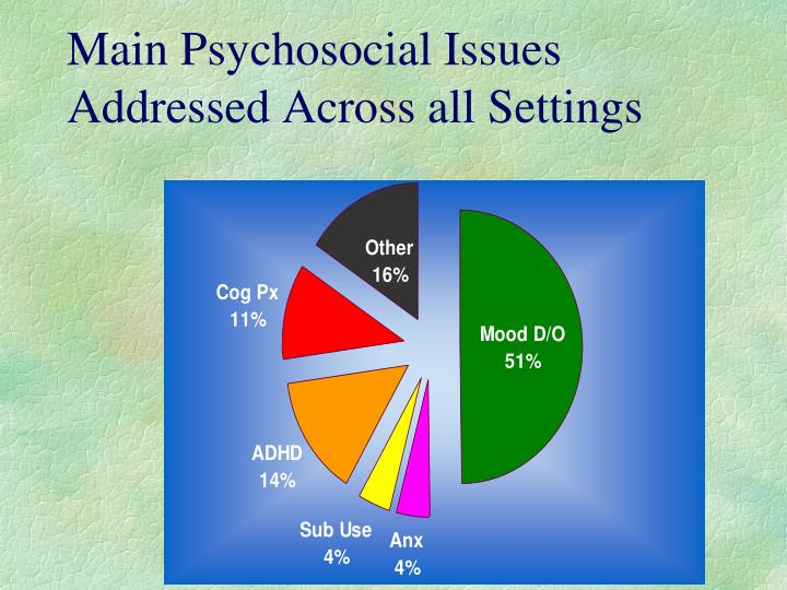 Main Psychosocial Issues Addressed Across all Settings