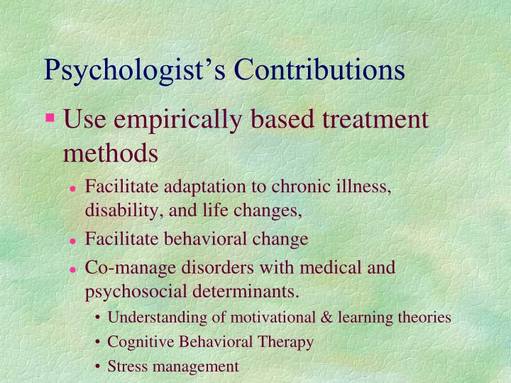 Psychologist's Contributions