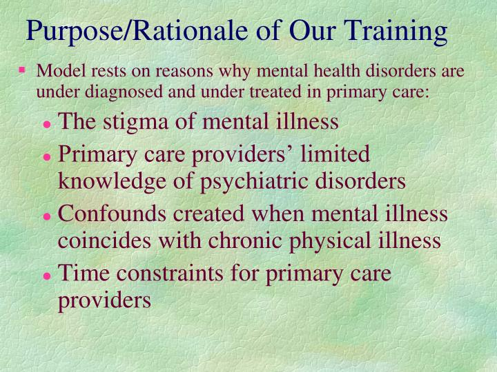 Purpose/Rationale of Our Training