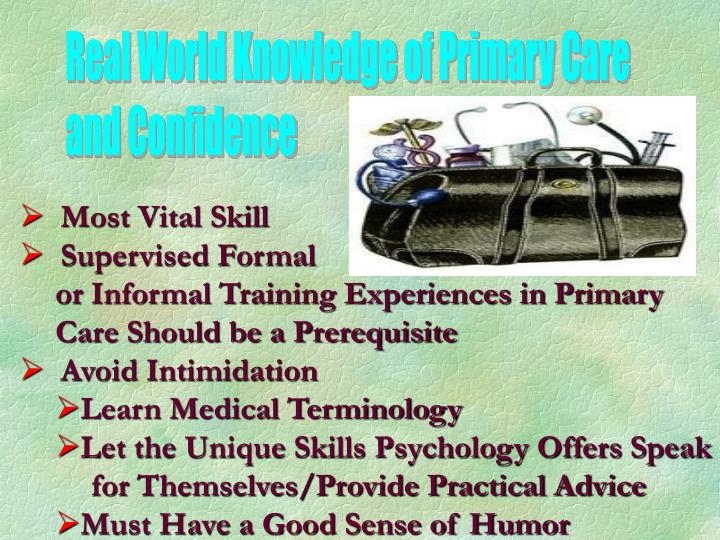 Real World Knowledge of Primary Care