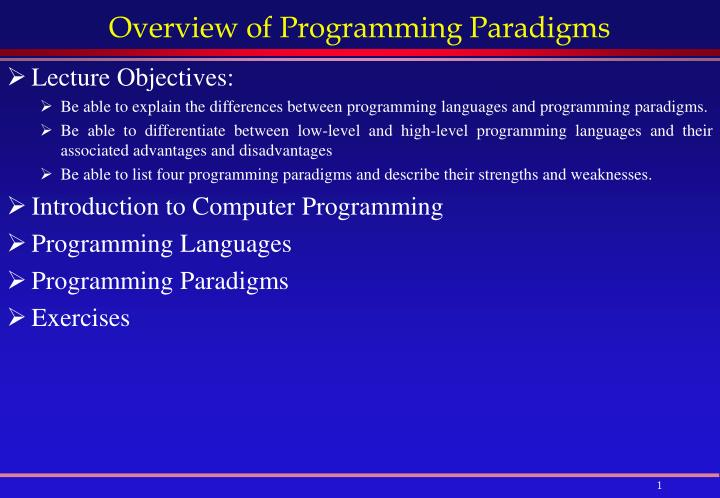 programming paradigms essay Nursing paradigms and theories 3 philosophical perspectives and nursing practice in order to understand a nurse's practice, it is important to appreciate a nurse's.