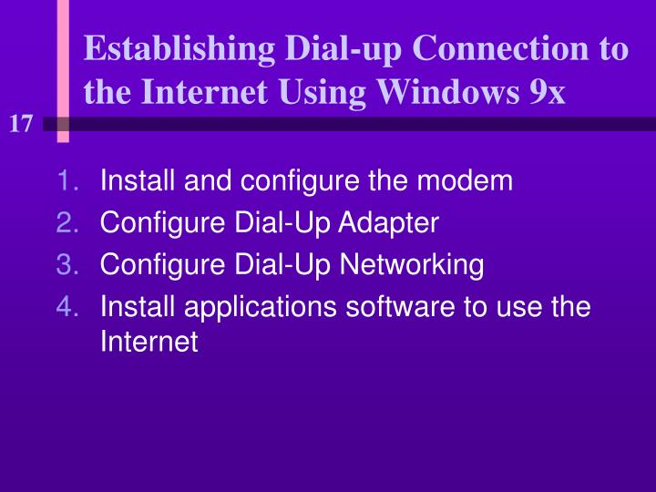 establishing dial up connection to the internet using windows 9x n.