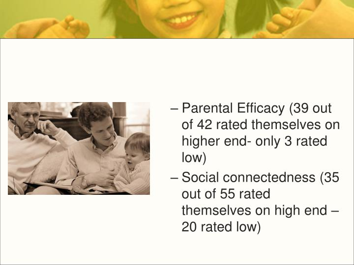Parental Efficacy (39 out of 42 rated themselves on higher end- only 3 rated low)