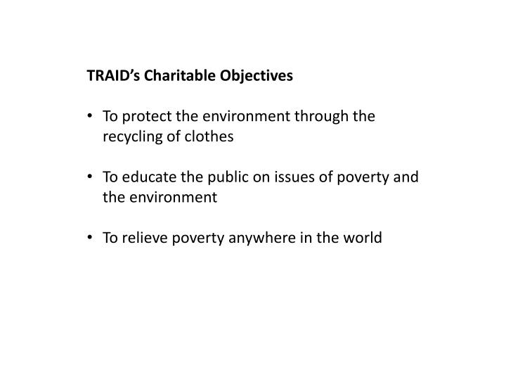 TRAID's Charitable Objectives