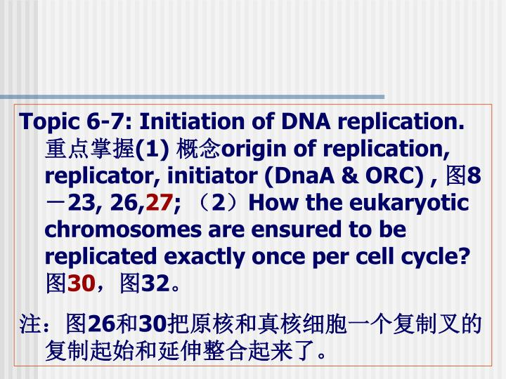 Topic 6-7: Initiation of DNA replication.