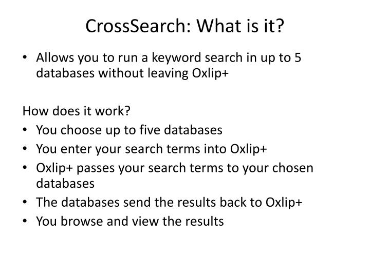 CrossSearch: What is it?
