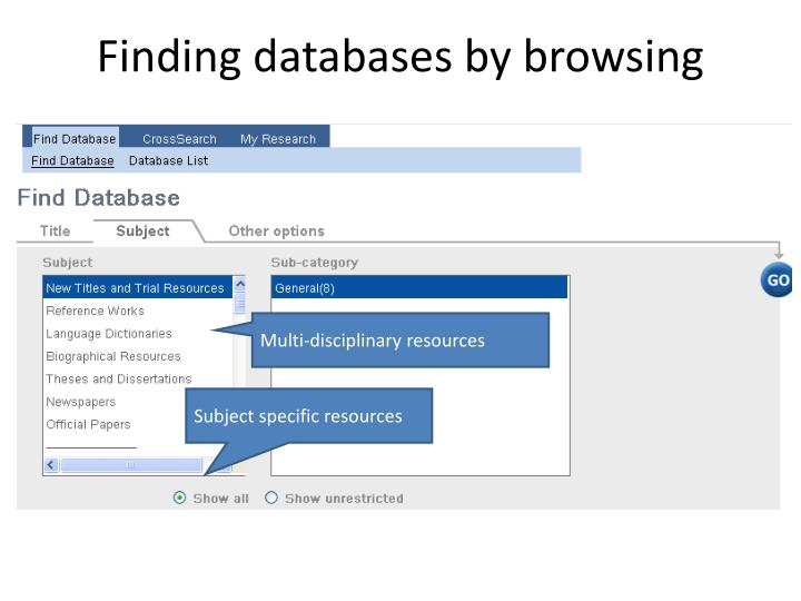 Finding databases by browsing