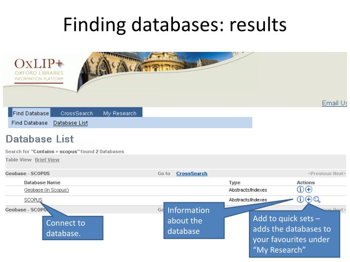 Finding databases: results