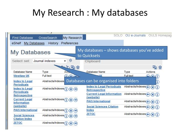 My Research : My databases