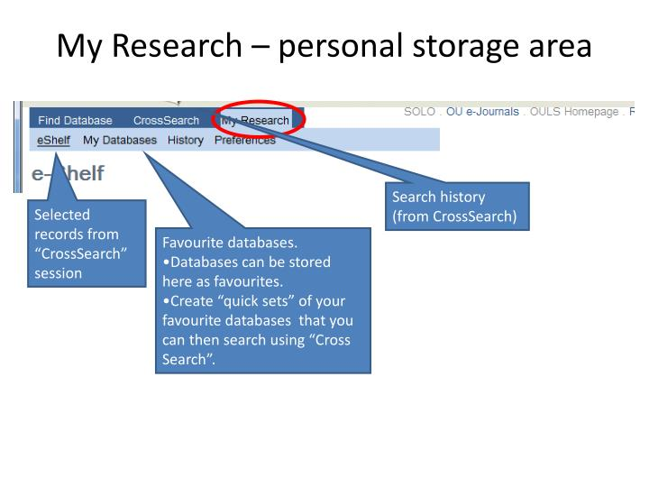 My Research – personal storage area