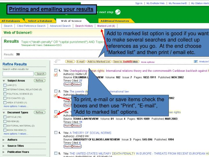 Printing and emailing your results