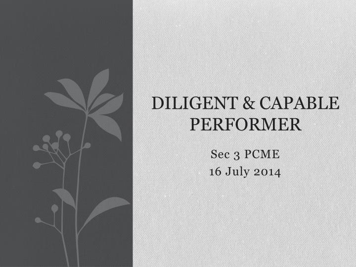 diligent capable performer n.