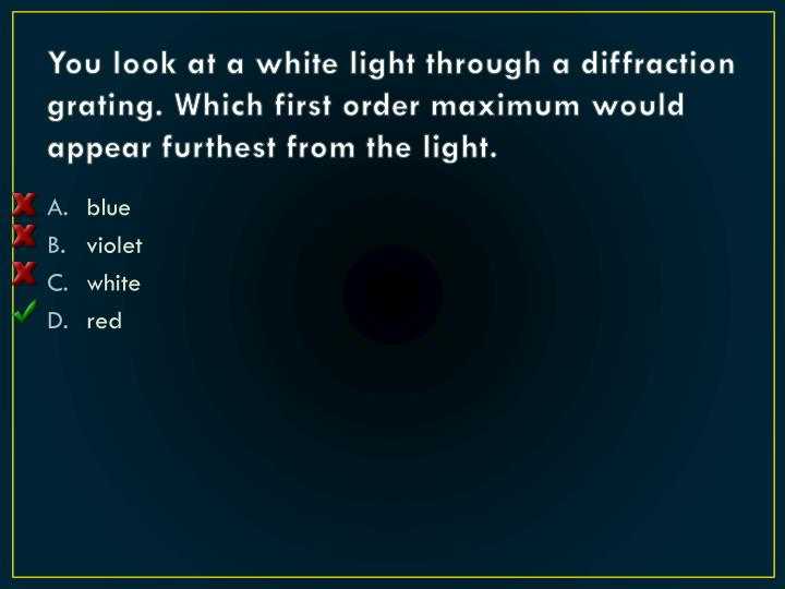 You look at a white light through a diffraction grating. Which first order maximum would appear furthest from the light.