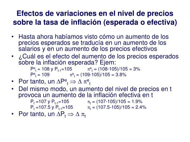 Efectos de variaciones en el nivel de precios sobre la tasa de inflaci n esperada o efectiva