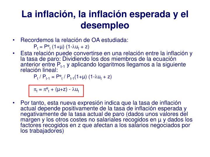 La inflaci n la inflaci n esperada y el desempleo