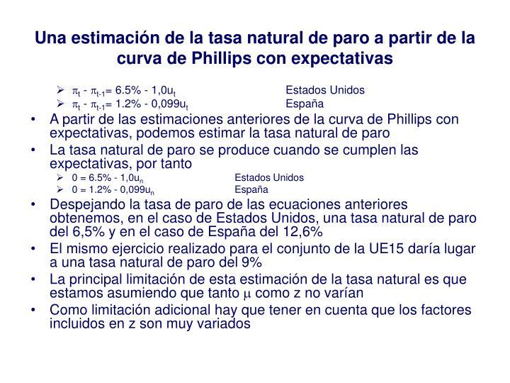 Una estimación de la tasa natural de paro a partir de la curva de Phillips con expectativas