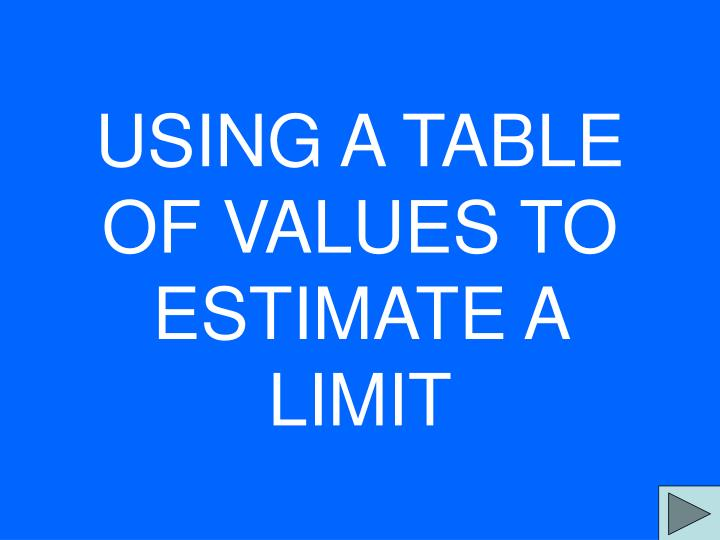using a table of values to estimate a limit n.