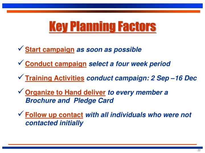 Key Planning Factors