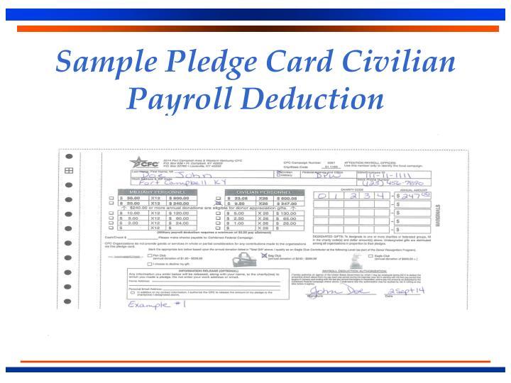 Sample Pledge Card Civilian Payroll Deduction