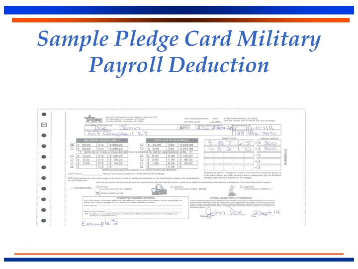 Sample Pledge Card Military Payroll Deduction