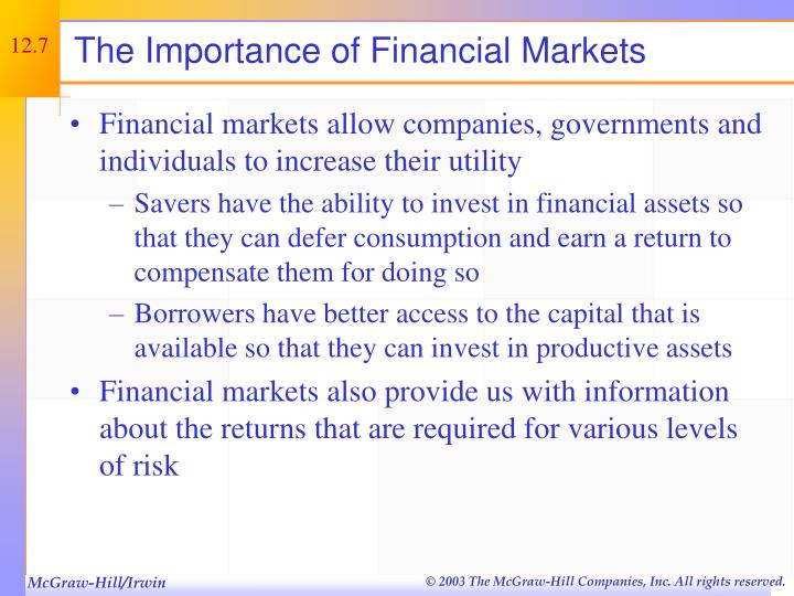 The Importance of Financial Markets