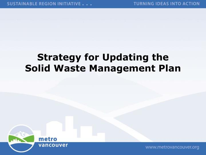 strategy for updating the solid waste management plan n.