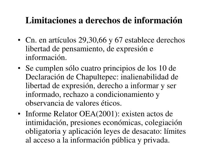 Limitaciones a derechos de información