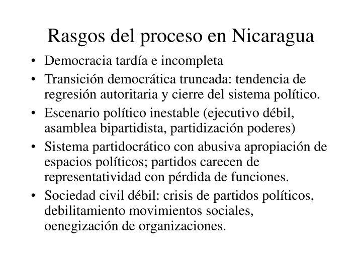 Rasgos del proceso en nicaragua