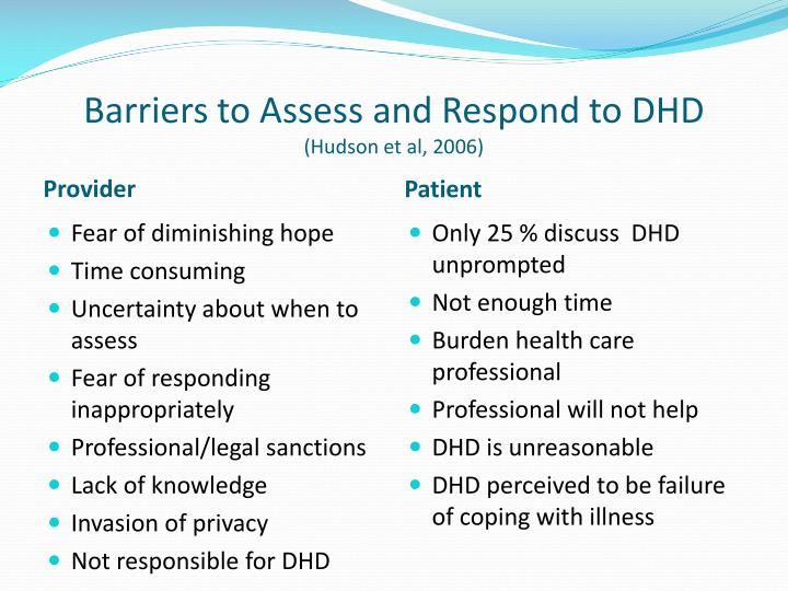 Barriers to Assess and Respond to DHD