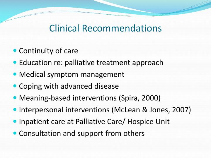 Clinical Recommendations
