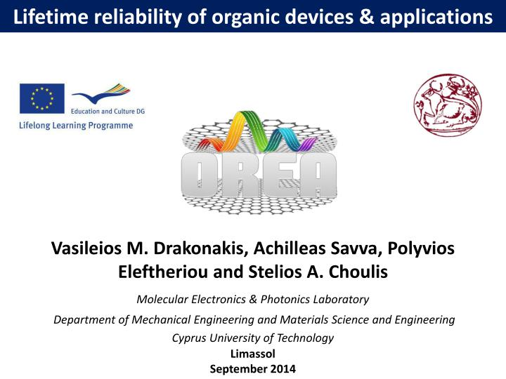lifetime reliability of organic devices applications n.