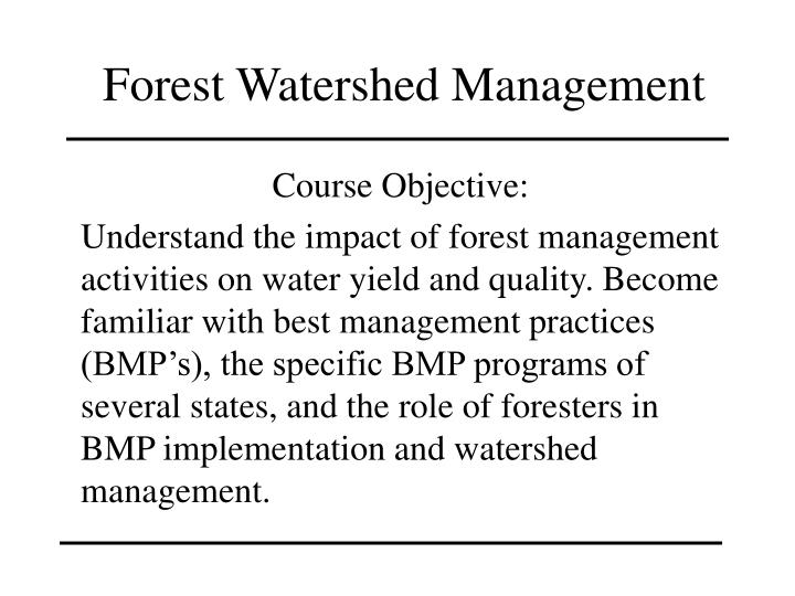 forest watershed management n.