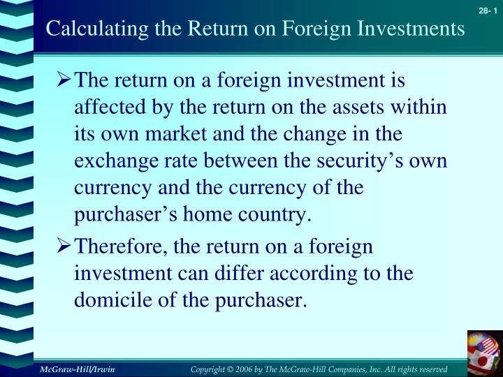 calculating the return on foreign investments n.