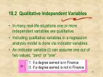 18 2 qualitative independent variables