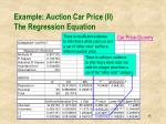 example auction car price ii the regression equation2