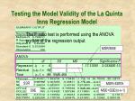 testing the model validity of the la quinta inns regression model