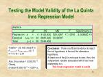 testing the model validity of the la quinta inns regression model1