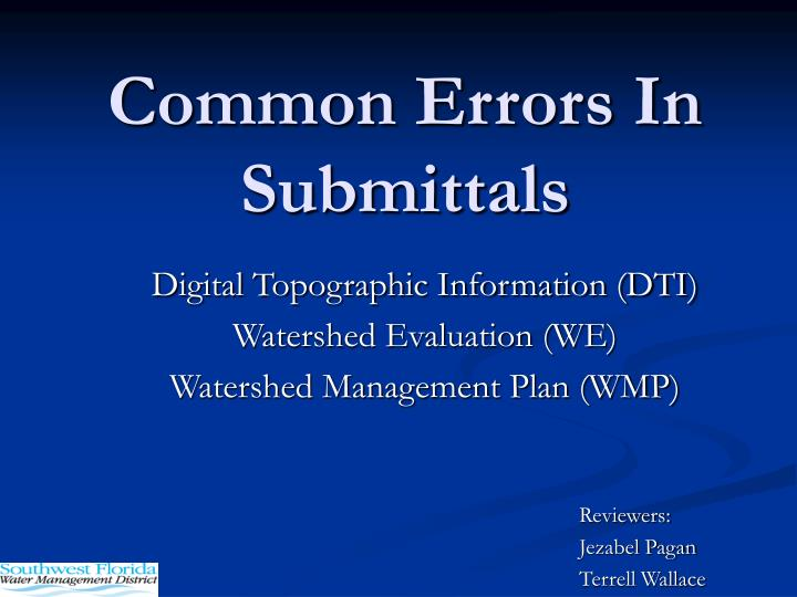 common errors in submittals n.