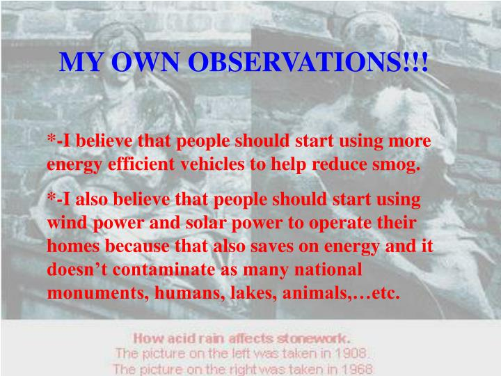 MY OWN OBSERVATIONS!!!