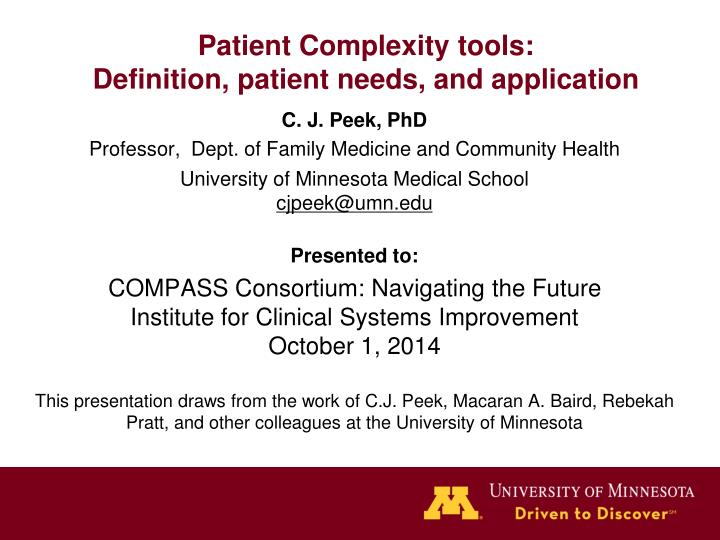 patient complexity tools definition patient needs and application n.