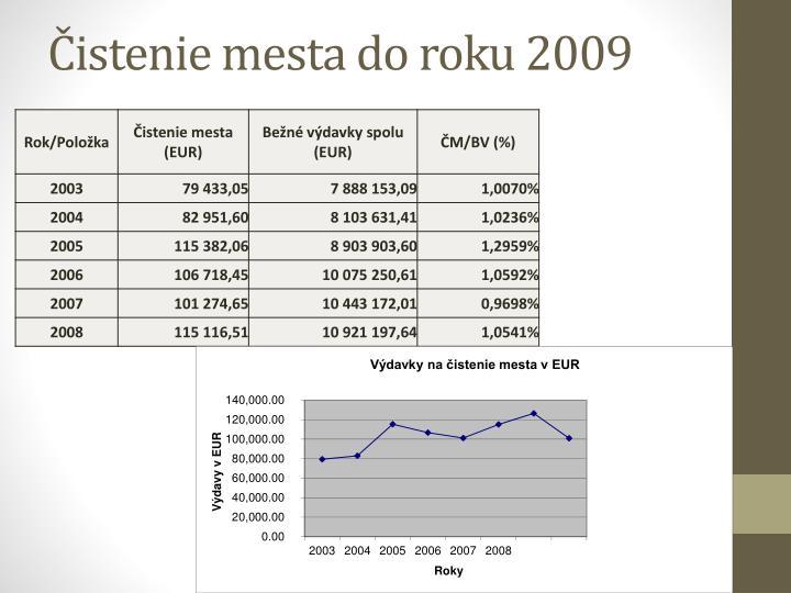 Čistenie mesta do roku 2009