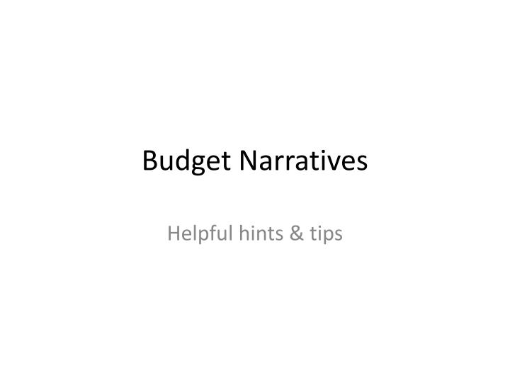 budget narratives n.