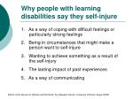 why people with learning disabilities say they self injure