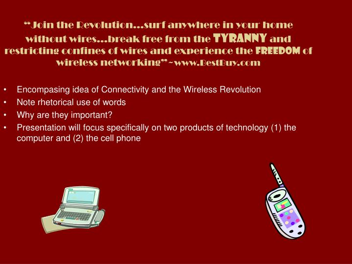 """""""Join the Revolution…surf anywhere in your home without wires…break free from the"""