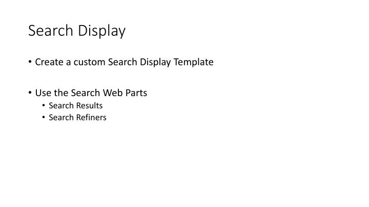 Search Display