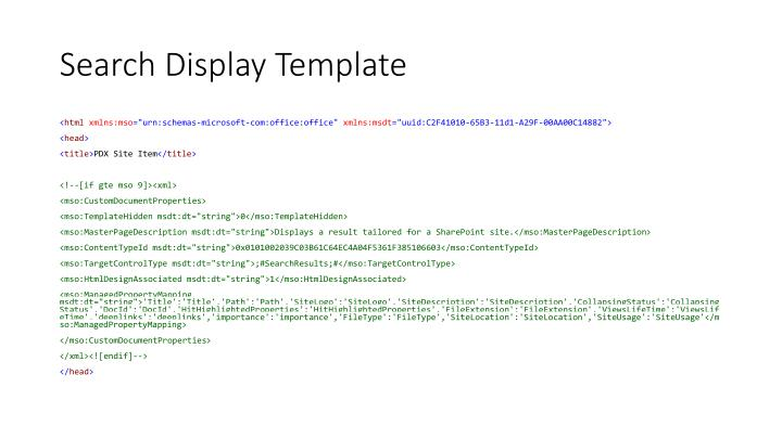 Search Display Template