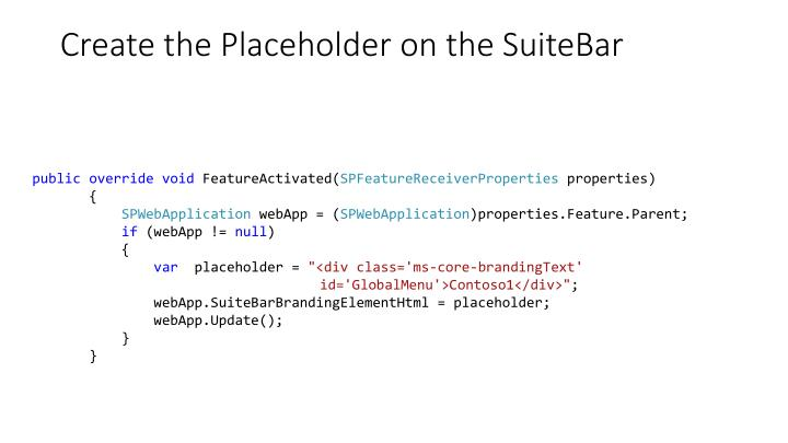 Create the Placeholder on the