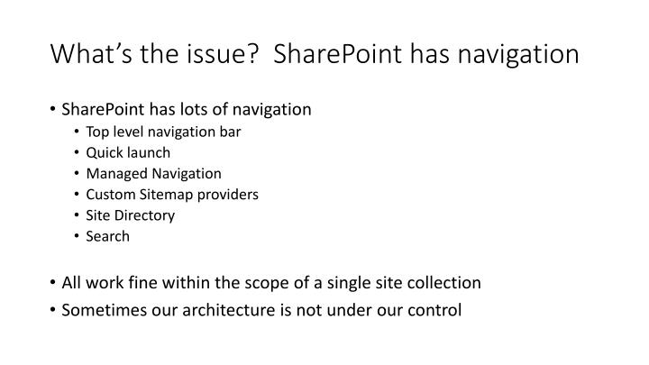 What s the issue sharepoint has navigation