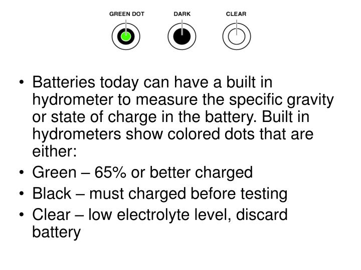 Batteries today can have a built in hydrometer to measure the specific gravity or state of charge in the battery. Built in hydrometers show colored dots that are either: