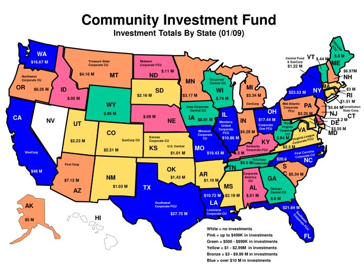 community investment fund investment totals by state 01 09 n.